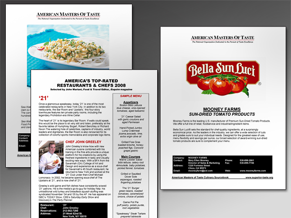 Data Sheets – Masters of Taste